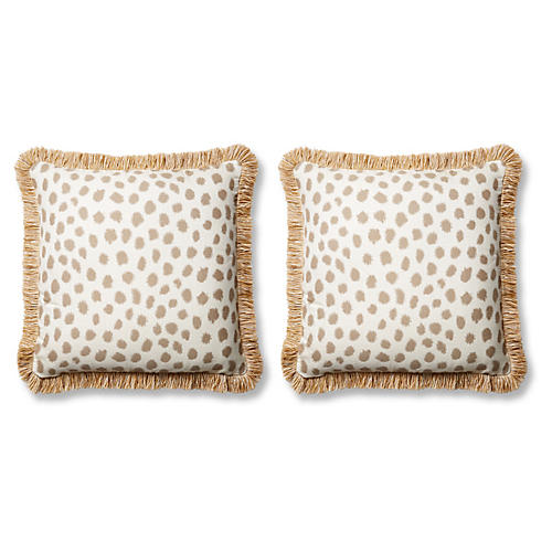 S/2 Poka Pillows, Taupe/Ivory Sunbrella