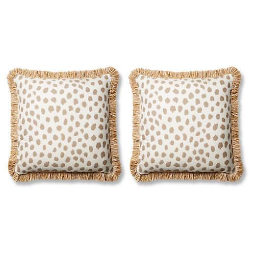 S/2 Poka Pillows, Taupe/Ivory Sunbrella