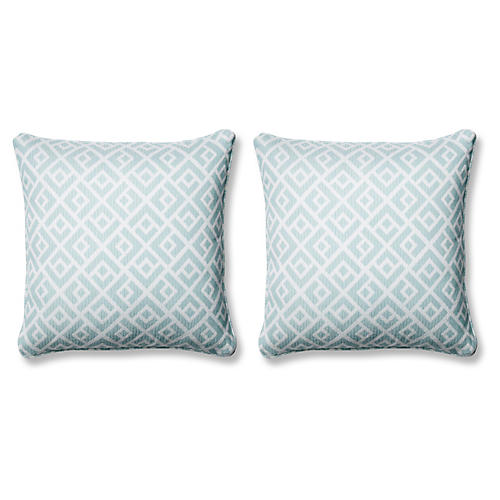 S/2 Chipper Pillows, Blue Sunbrella