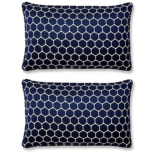 S/2 Wired 12x20 Lumbar Pillows, Indigo Sunbrella