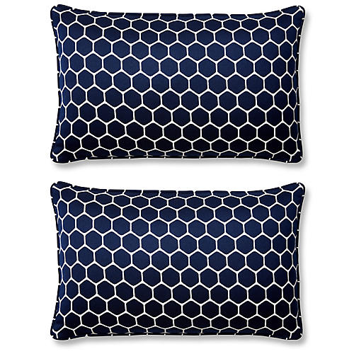 S/2 Wired 12x20 Lumbar Pillows, Indigo Sunbrella