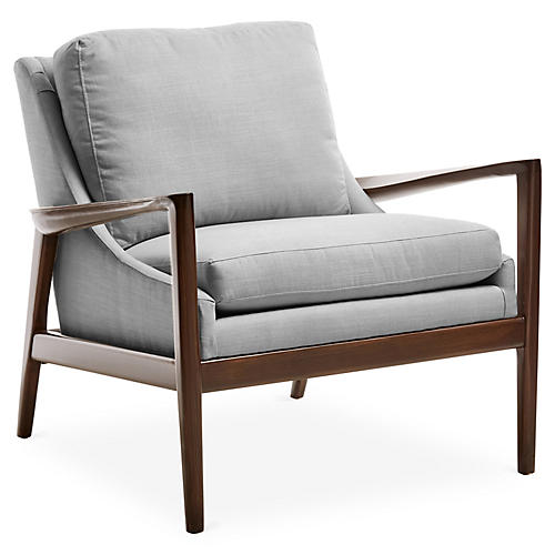 Ebonwood Accent Chair, Gray Linen
