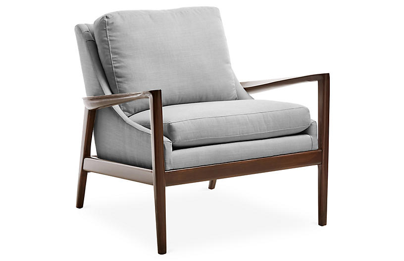 Ebonwood Accent Chair, Gray Linen