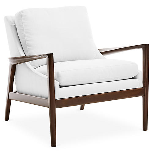 Ebonwood Accent Chair, White Linen