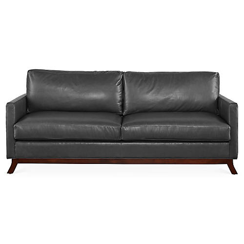 Edwards Sofa, Gray Leather