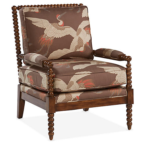 Bankwood Accent Chair, Persimmon/Ivory