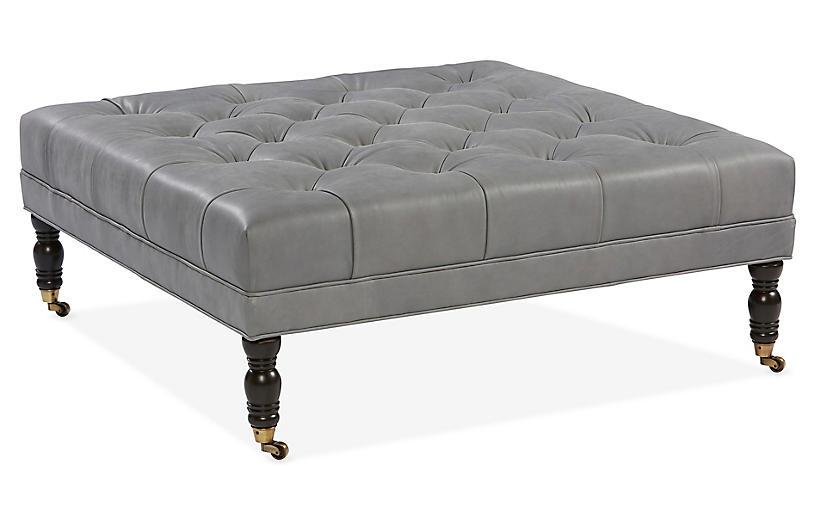 Options Ottoman, Gray Leather