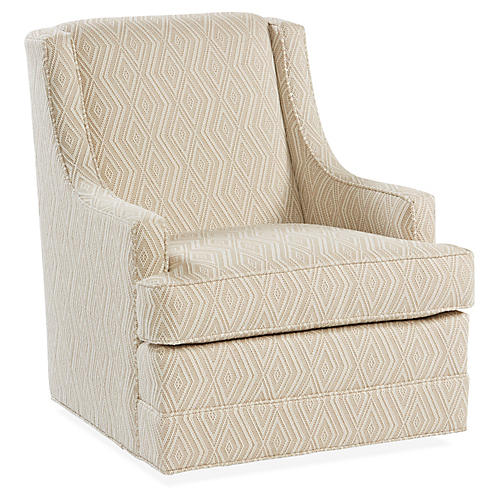 Berkley Swivel Club Chair, Natural/White