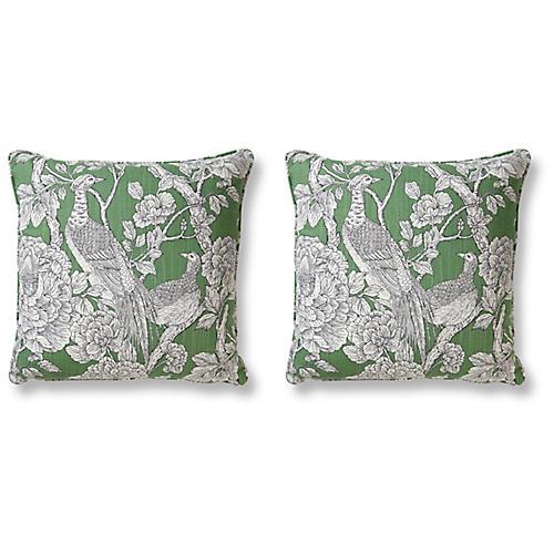 S/2 Pheasant 20x20 Pillows, Jade