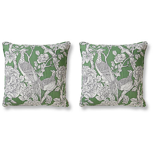 S/2 Pheasant 20x20 Pillows, Jade