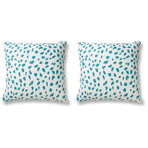 S/2 Big Ditty 21x21 Pillows, Sea Glass Linen