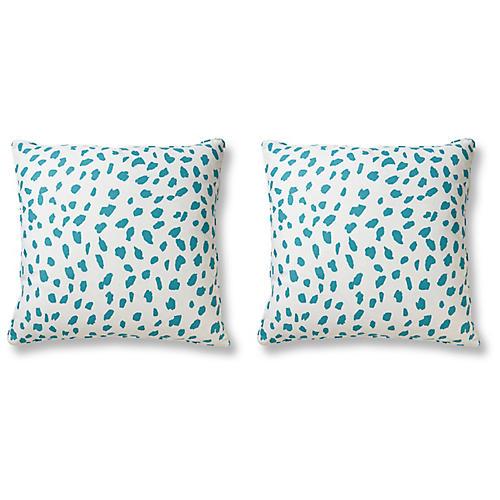 S/2 Big Ditty 21x21 Pillows, Sea Glass Linen