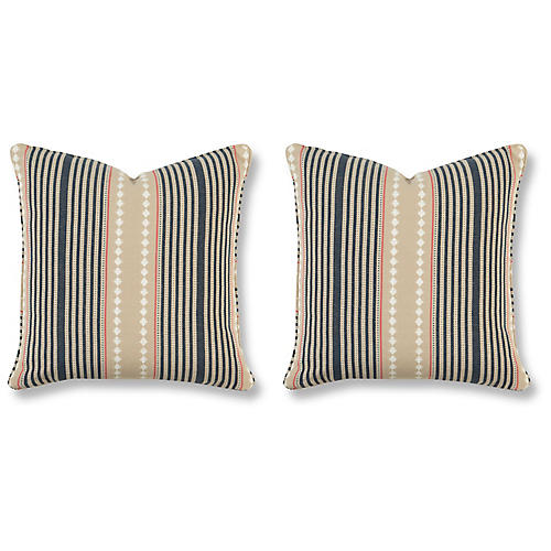 S/2 Brighton 20x20 Pillows, Indigo