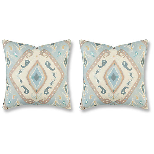 S/2 Nila 20x20 Pillows, Moonstone Linen