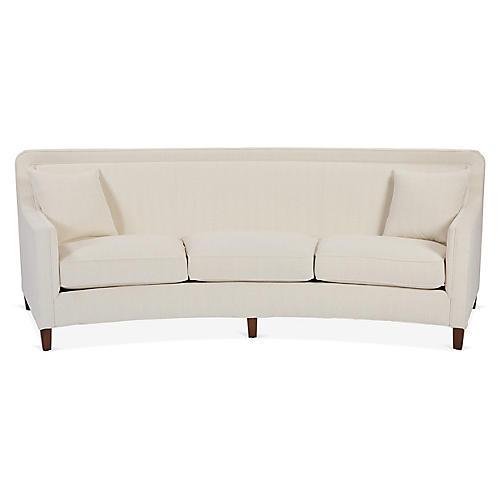 Cayman Curved Sofa, Ivory Crypton