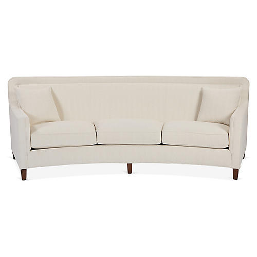 Cayman Curved Sofa, Ivory Crypton