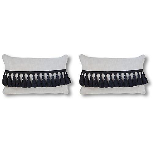 S/2 Kaylen 12x20 Pillows, Black/White Linen