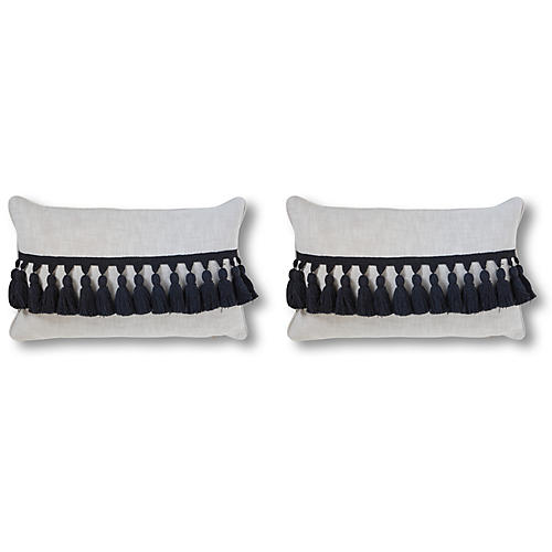 S/2 Kaylen 12x20 Pillows, Black/White Linen