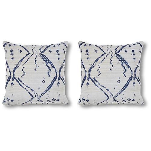 S/2 Hania 20x20 Pillows, Ink/White