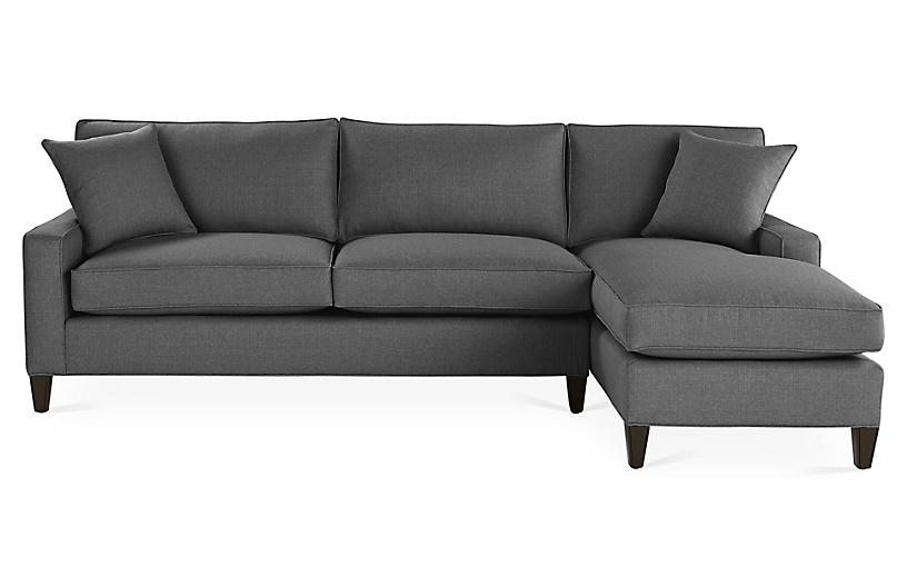 Liza Right-Facing Sectional, Charcoal Crypton