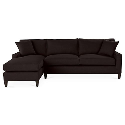 Liza Left-Facing Sectional, Black Linen