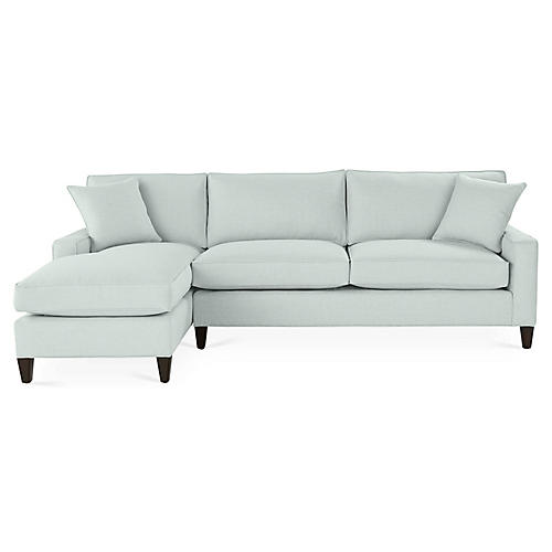 Liza Left-Facing Sectional, Seafoam Linen