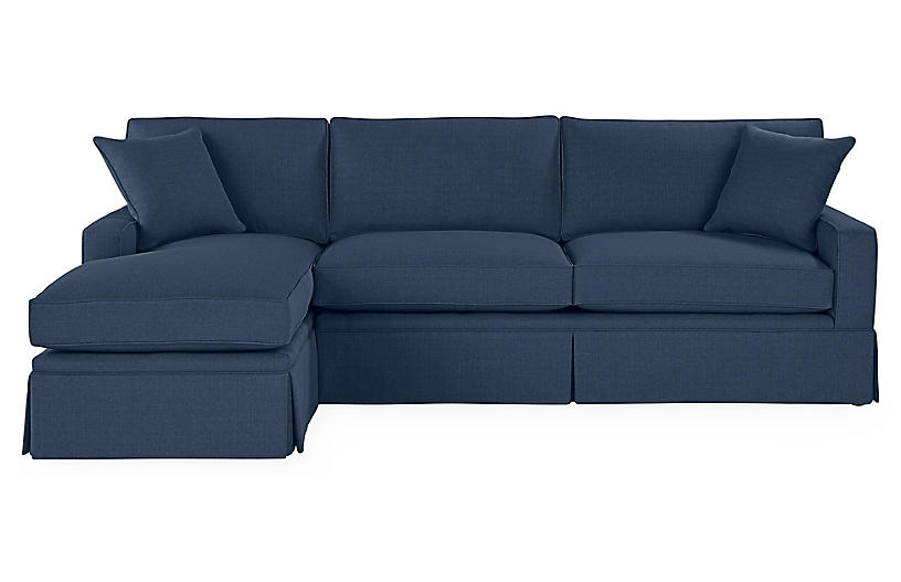 Liza LF Skirted Sectional, Indigo Linen
