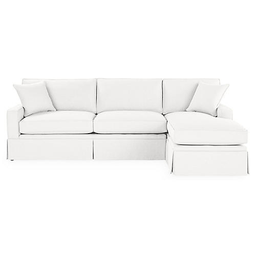 Liza RF Skirted Sectional, White Linen