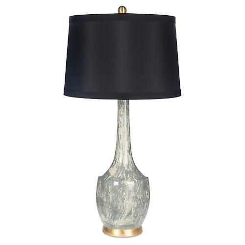 Harlow Marble Table Lamp, Gray/Black