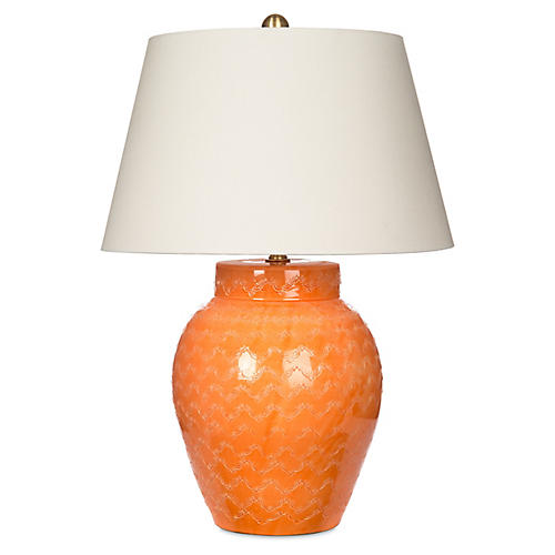 Rustic Jar Table Lamp, Orange