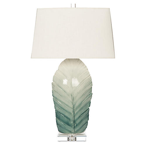 Sculptural Leaf Table Lamp, Blue Ombré