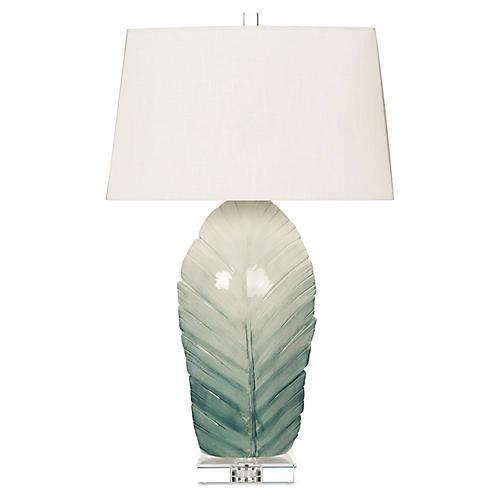 Sculptural Leaf Table Lamp, Blue Ombré