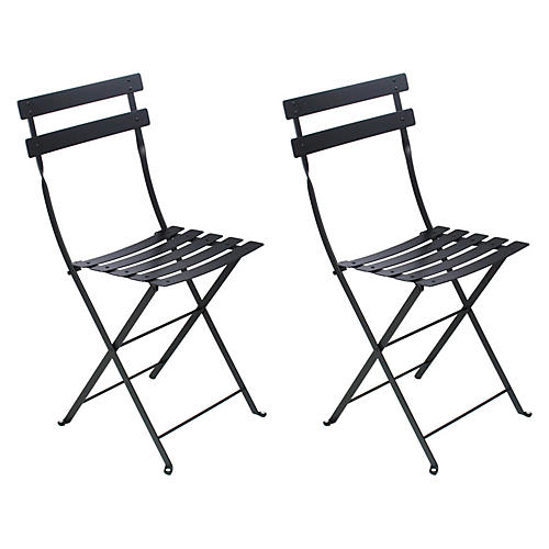 Black Bistro Chairs, Pair