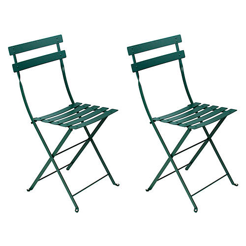 Cedar Bistro Metal Chairs, Pair