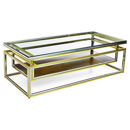 Drop-Shelf Coffee Table, Brass