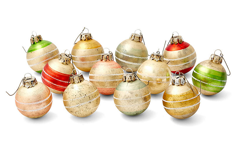 Asst. of 12 Striped Ornaments