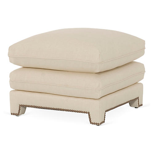 Empire Plush Ottoman, Ivory Linen