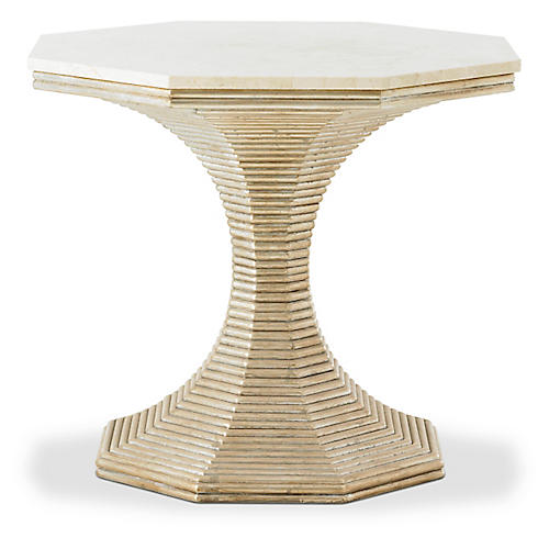 Hourglass Side Table, Silver