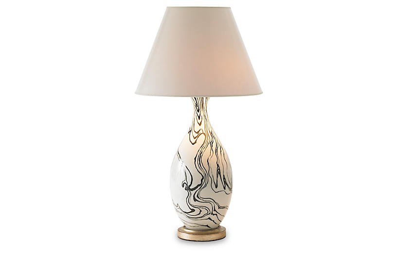 Marbleized Lamp, Black/White