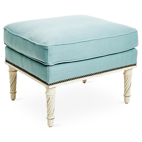 Azure Ottoman, Blue Linen