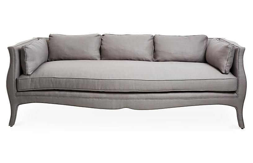 Southern Belle Sofa, Gray Linen