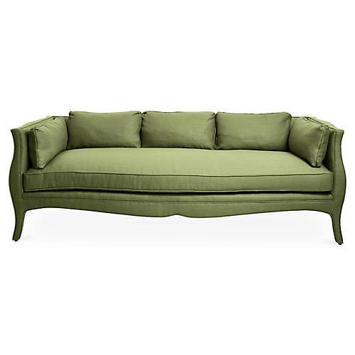 Southern Belle Sofa, Green Linen