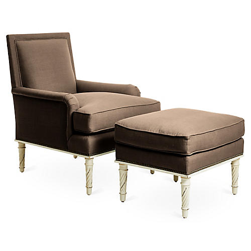 Azure Accent Chair & Ottoman Set, Brown