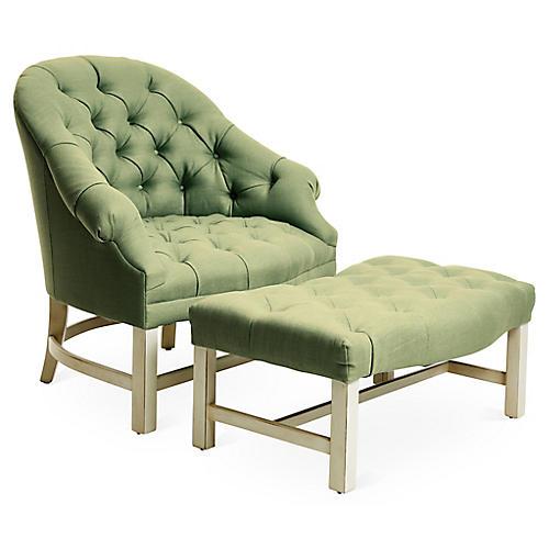 Tufted Chair & Ottoman Set, Alpine/Green Linen
