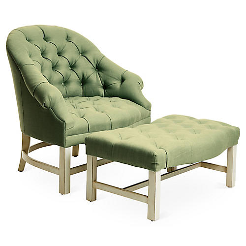 Tufted Chair & Ottoman Set, Alpine/Green