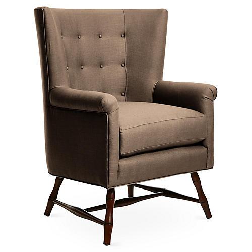 Westcott Wingback Chair, Brown Linen