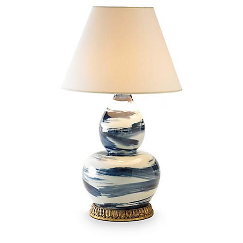 Brush Stroke Table Lamp, Blue/White