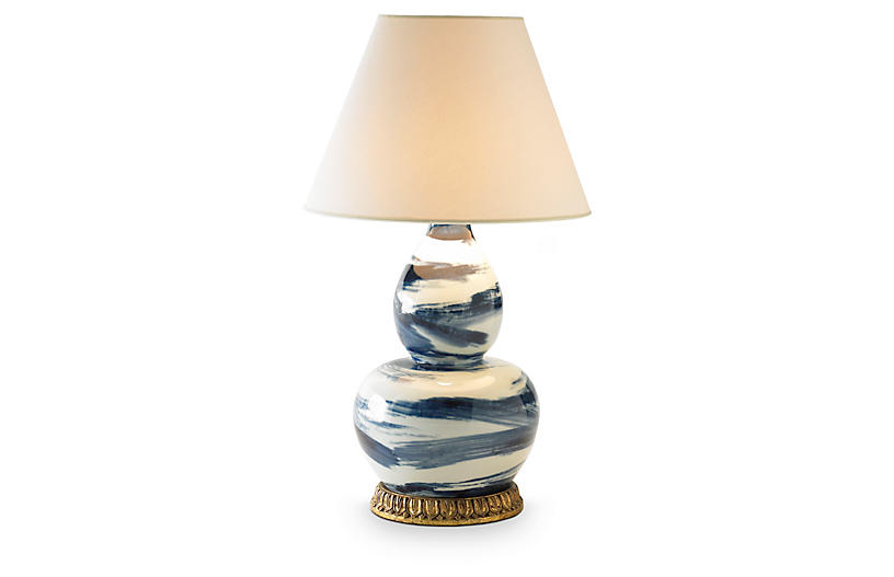 Brushstroke Table Lamp, Blue/White
