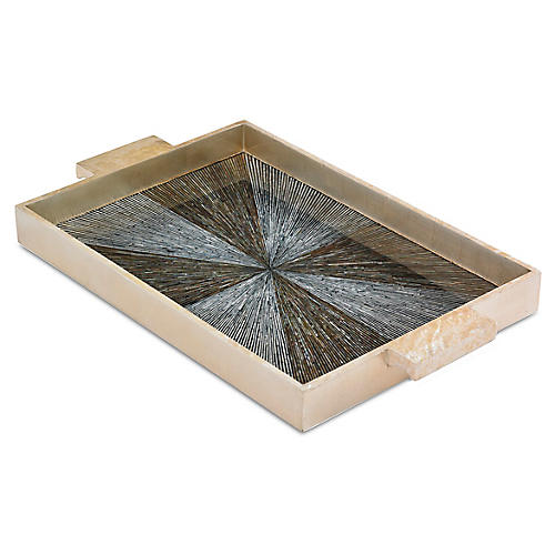 "23"" Radiant Tray, Ivory/Multi"