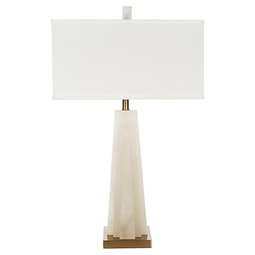 Aviano Alabaster Table Lamp, Ivory/Gold